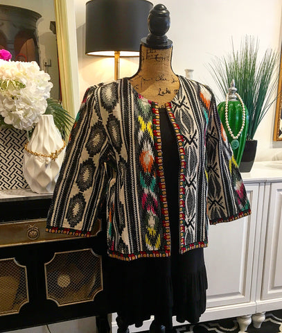 Black and White with Multi-Color Embroidered Boho Design Jacket with Inner Fasteners