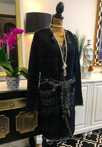 Black and Silver Long Cardigan Sweater with Fringe Detailing & Tie Waistline