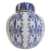 Gorgeous, vintage-inspired Teramasu White with Navy Floral Round Jar with Lid