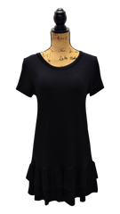 Black T-Shirt Dress/Tunic with Ruffled Hem
