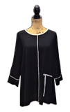 BLACK WITH WHITE TRIM 3/4 SLEEVE TUNIC WITH ZIPPER POCKET