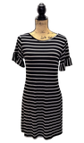 BLACK AND WHITE STRIPE SCOOP NECK T-SHIRT DRESS WITH RUFFLED SHORT SLEEVES