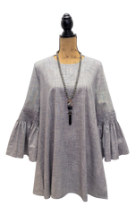 Teramasu Grey-Blue Bell Sleeved Buttoned Back Tunic