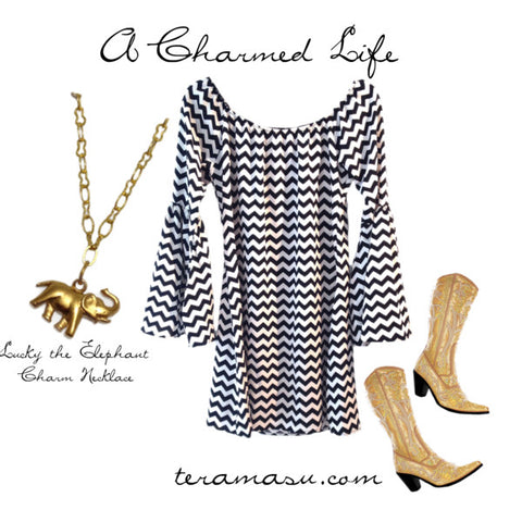 Chevron Dress and Bling Boots with Elephant necklace