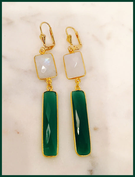 Green onyx moon stone 24k gold filled earring by Teramasu