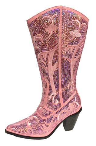 Pink Sequin Cowgirl Bling Boots Helens Heart
