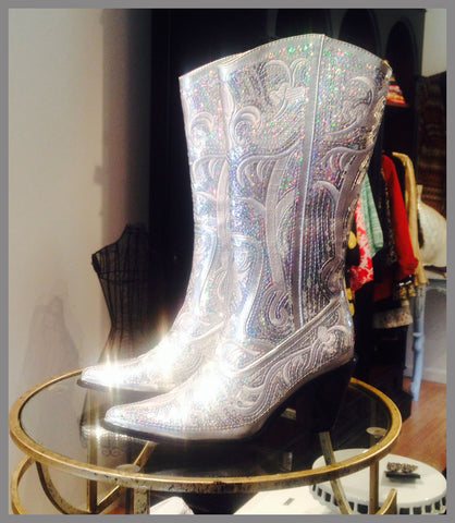 Heavenly Shiny Silver Bridal Bling Boots