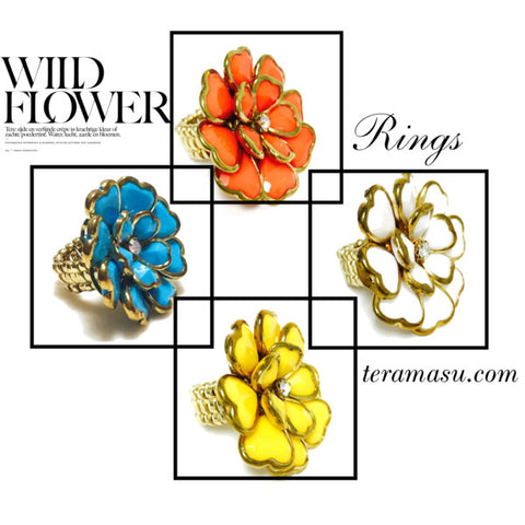 Colorful Large Flower Rings For Spring and Summer by Teramasu