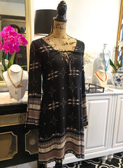 Black, Tan, & Off-White Boho Print Dress with Full Length Cut-Out Sleeves and Tie V-Neckline