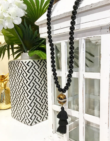Teramasu Black Onyx with One-of-a-Kind Black & White Agate and Tassel Pendant Necklace
