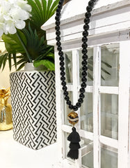Teramasu Black Onyx With Black & White Agate Bead and Tassel Pendant Necklace