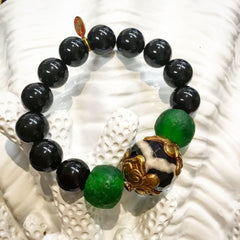 Teramasu Black Onyx and Tumbled Glass Bead With Black & White Agate Stone Stretch Bracelet