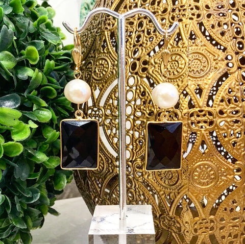 Teramasu Pearl and Black Onyx Drop Earrings