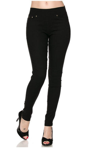 Black Stretch Twill 5 Pocket Skinny Pants