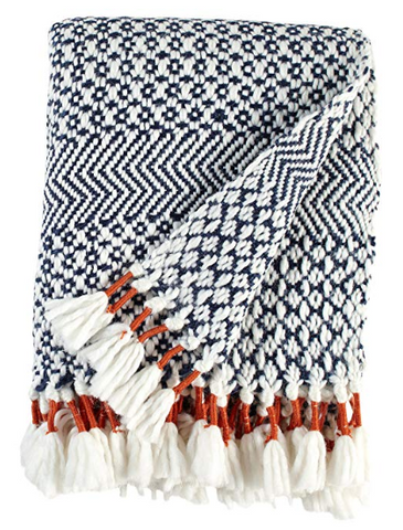 Blue and White Throw Blanket