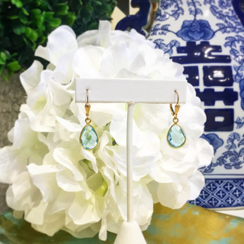 Teramasu Blue Topaz with Gold Leverback Earrings