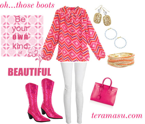 Dressing up with pink bling boots