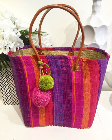 Teramasu Handmade Multi-Color Striped Straw Tote Purse with Pom-Poms