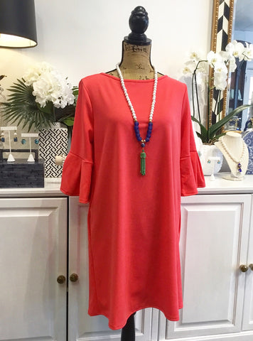 Teramasu Coral Shift Dress with Cropped Bell Sleeves and Pockets