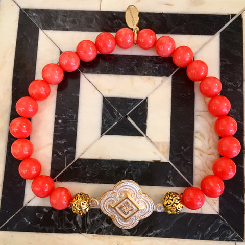 """Want It"" Wednesday: Add a Spark of Meaning and Color to Your Style with Our New Teramasu Gratitude Bracelet in Pink Coral Gemstone"