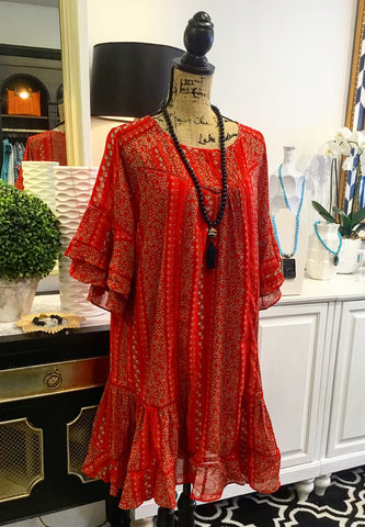 Red-Orange & White Floral Dress with Ruffle Bell Sleeves and Ruffle Hem