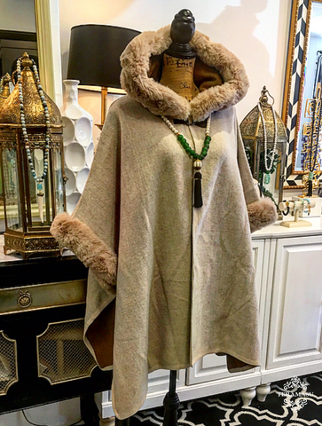 Tan & Cream-Colored Cape with Faux Fur Trimmed Hood and Sleeves