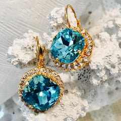 Teramasu Turquoise Swarovski Crystal With Crystals Leverback Dangle Earrings