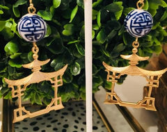 Teramasu Pagoda Blue and White Hand Painted Porcelain Earrings
