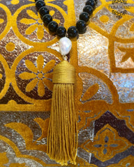 Teramasu Black Onyx with Baroque Pearl and Gold Tassel Necklace