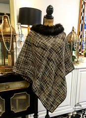 Black, White, & Tan Crochet Cape with Faux Fur Neckline and Black Trim