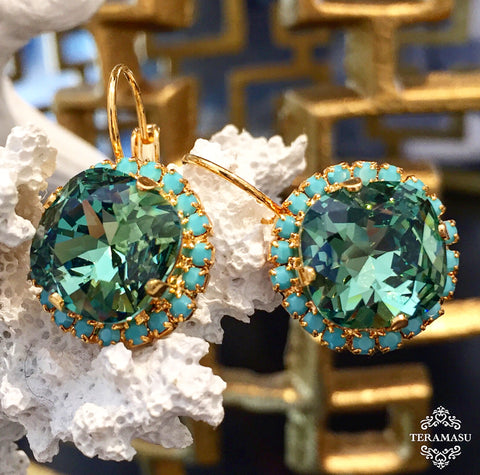 Teramasu Green Swarovski Crystal with Turquoise Crystal Rhinestones Leverback Gold Drop Earrings
