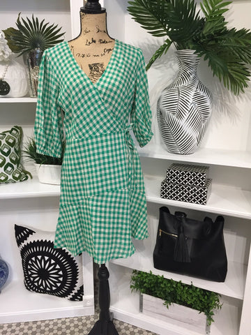 Wrap Dress in Green and Cream Gingham Check