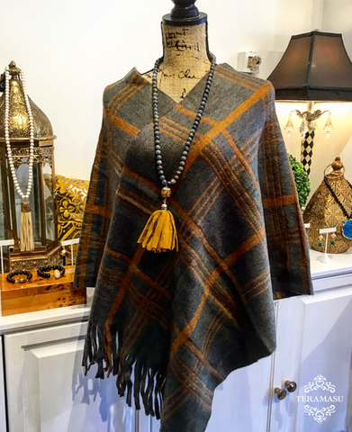 Grey-Olive Green and Camel Plaid Cape with Fringe Hem