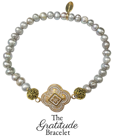 The Teramasu Gratitude Bracelet in Grey Pearl