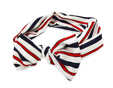 Red White Blue Striped Headband Headwrap with Front Bow