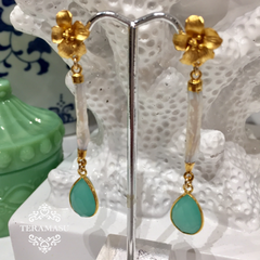 TERAMASU HIBISCUS FLOWER MOTHER OF PEARL GREEN CHALCEDONY EARRINGS