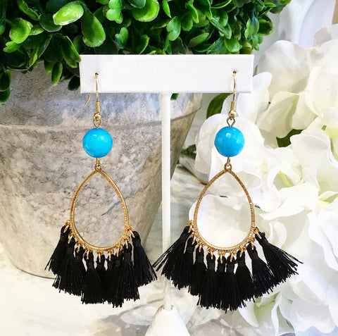 """Want It"" Wednesday: Gorgeous Handmade Teramasu Blue Jade and Black Tassel Earrings"