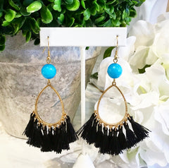 Teramasu Blue Jade and Black Tassel Earrings