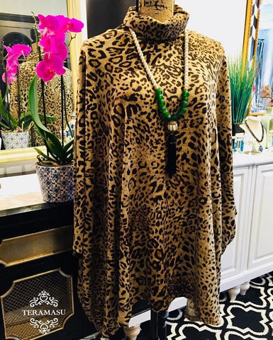 Leopard Print Cowl Neck Poncho Sweater