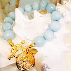 Teramasu Faceted Blue Jade and Mermaid Charm Toggle Bracelet