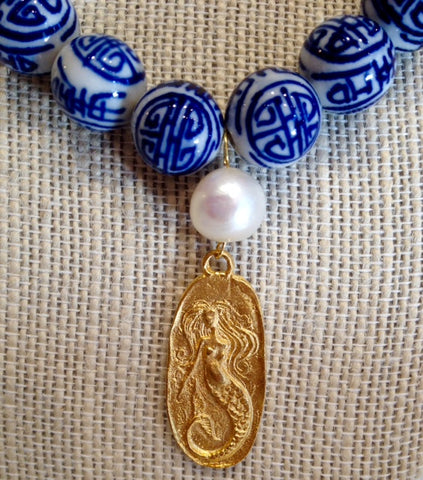 Teramasu Hand-Painted Blue and White Porcelain Gold Mermaid with Pearl Necklace