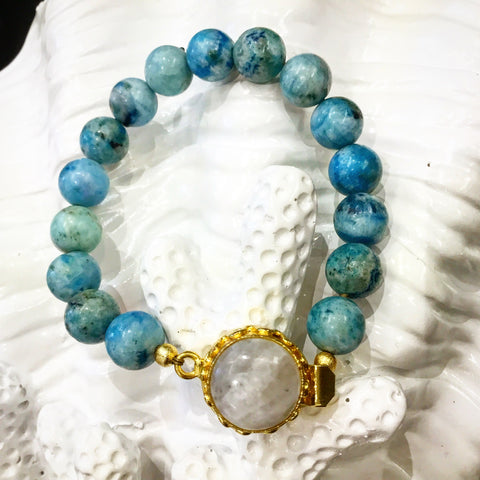 Monday Must-Have: Gorgeous Handmade Teramasu Handmade Hemimorphite and Moonstone Box Clasp Bracelet