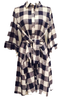 Teramasu Navy Blue and Cream Plaid Button Front Tie Dress With Pocket