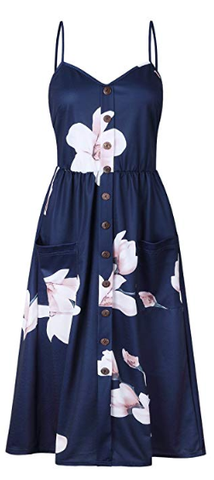 Navy Blue and White Dress with Pink Floral