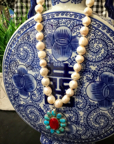 Teramasu Freshwater Pearl on Knotted Silk Necklace with One of a Kind Flower Pendant