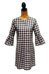 NAVY BLUE AND WHITE GINGHAM CHECK DRESS WITH RUFFLE SLEEVE