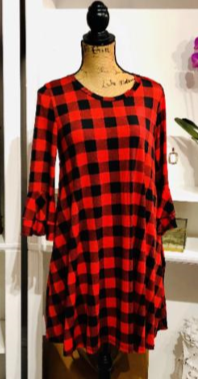 Trendy in Plaid Red and Black Dress with Bellsleeves