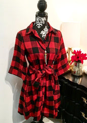 Red and Black Flannel Plaid Front Button Tie Dress With Front Pockets