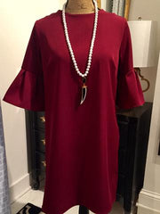 Teramasu Burgundy Ruffle Sleeve Classic Sheath Dress.