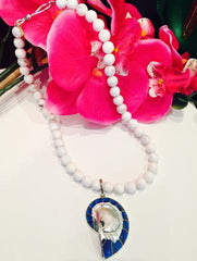 Teramasu White Agate and Blue Shell Pendant Necklace